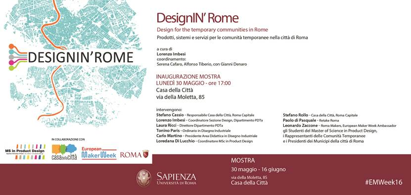 """""""Designin' Rome"""", la mostra alla Casa della Città il 30 maggio"""