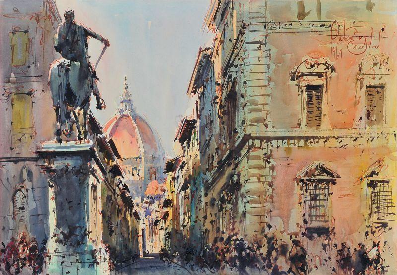 Firenza acquerello Michele Ortino